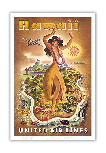 (Pacifica Island Art Hawaii - Hawaiian Hula Dancer - United Air Lines - Vintage World Travel Poster by Joseph Fehér c.1949 - Hawaiian Master Art Print - 12 x 18in)