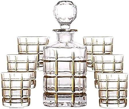 GXYtable cloth Decantador de Whisky Set de 7 Piezas Juego de Whisky Decanter Línea de Cristal de Cristal sin Plomo Botella de Vino Tinto Dibujo de Oro Línea de Oro Jarra de Vino Regalo de la casa