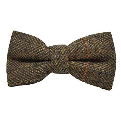 Luxury Dijon Herringbone Check Bow Tie, Tweed