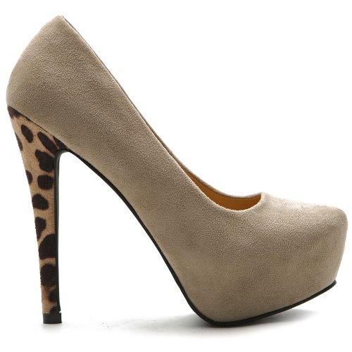 High Heel Leopard Pumps (Ollio Women's Platform Shoe Faux Suede Stiletto Leopard High Heels Multi Color Pump ZM13048(8 B(M) US, Beige))