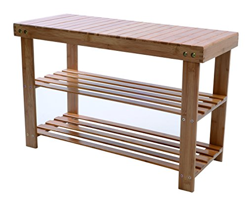 Melange 100% Natural Bamboo Shoe Storage Bench | Extra-Strong MOSO Bamboo Entryway Shelf | 2 Tier Back/ Front Door Shoe Rack | Versatile Wooden Organizer for Shoes, Toiletries, Towels & More (Natural All Bench Storage Wooden)