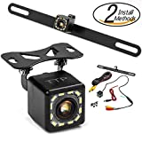 Car Backup Camera - Rear View Camera 12 LEDs 170° Viewing Angle Best for Trucks & Cars - Two Install Method - License Plate Back up Car Camera Or Bracket Mount Reverse Camera
