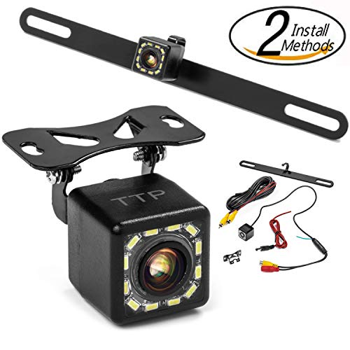 Car Backup Camera – Rear View Camera 12 LEDs 170° Viewing Angle Best for Trucks & Cars – Two Install Method – License Plate Back up Car Camera Or Bracket Mount Reverse Camera