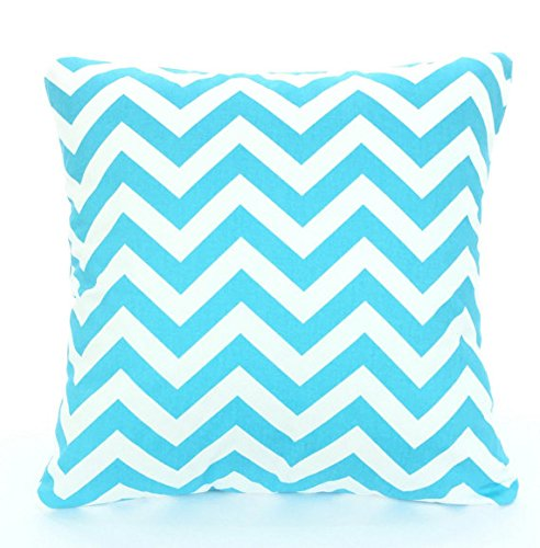 Aqua Turquoise and white and Throw Pillow Cover, Chevron Cushion, Accent Pillow, Euro Sham, Cushion Cover - 26