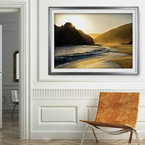 Renditions Gallery HAC18-15888-2436SF Sunset at Big Sur Premium Landscape Art Photography Framed Wall Decor Painting Nature Pictures Giclee Prints, 30 x 40, - Sur Framed Big