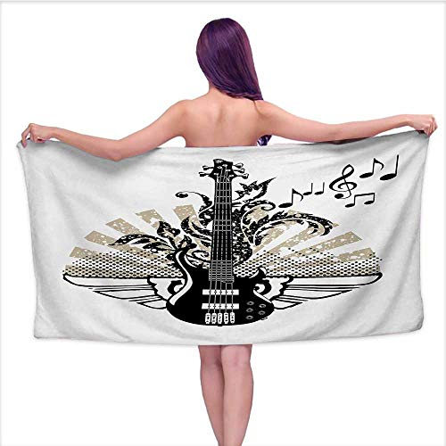 Onefzc Bath Towels Guitar Geometrical Elements Stripes Swirls Dots Lines and Musical Notes Rock and Roll Absorbent Soft Washcloth W63 x L31 Tan Black White (Loft Bath Line Toilet Roll)