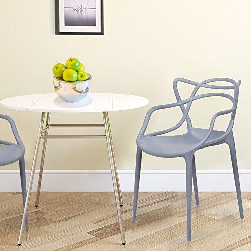 Adeco Polypropylene Hard Plastic Dining Chairs, Intertwine ...