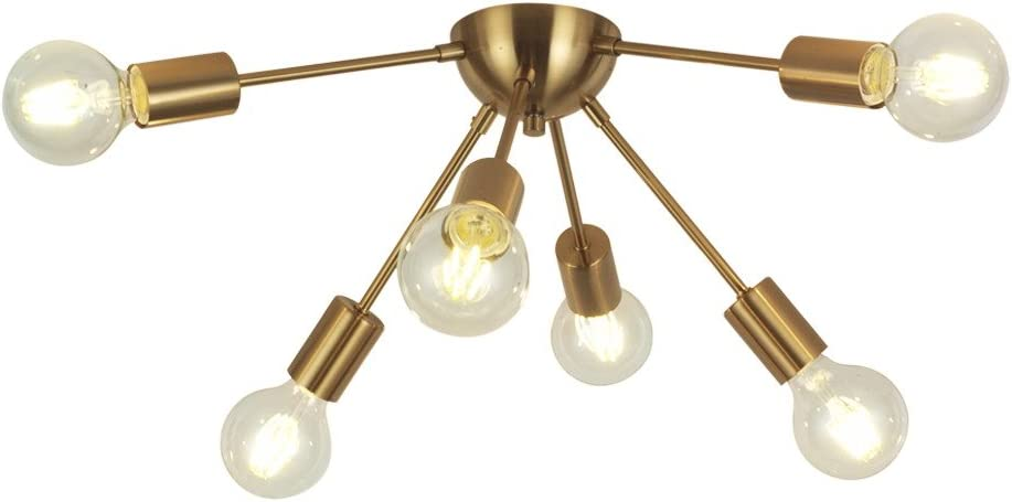 VINLUZ 6-Light Sputnik Chandelier Brass Mid Century Modern Ceiling Light Retro Chandelier Lighting for Kitchen Dining Room Bedroom Hallway Foyer