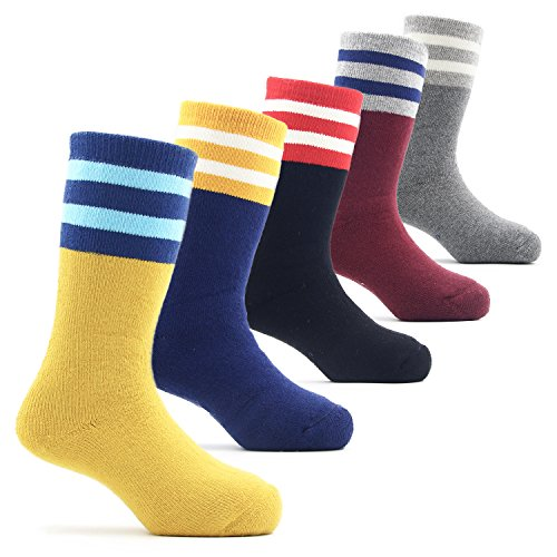 (Toddler Boys Thick Cotton Socks Kids Winter Warm Thermal Crew Seamless Socks 5 Pack 1T/2T)