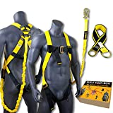 KwikSafety (Charlotte, NC) SCORPION KIT | 1D Full Body Safety Harness, 6' Lanyard Attached, 3' Cross Arm Strap Anchor ANSI OSHA PPE Fall Protection Arrest Restraint Construction Roofer Bucket