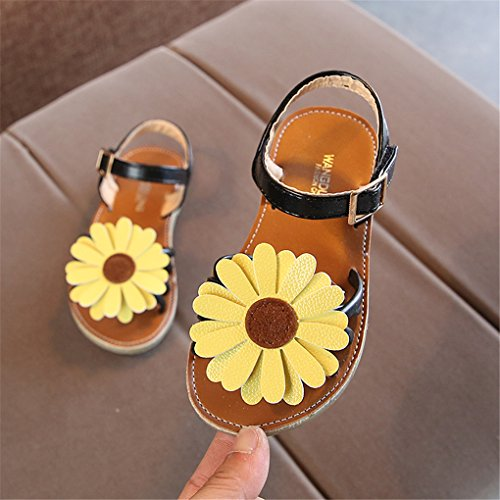 lakiolins Toddler Girls Summer Beach Sunflowers Slingback Flat Sandals Princess Dress Shoe Black Size 23 by lakiolins (Image #3)