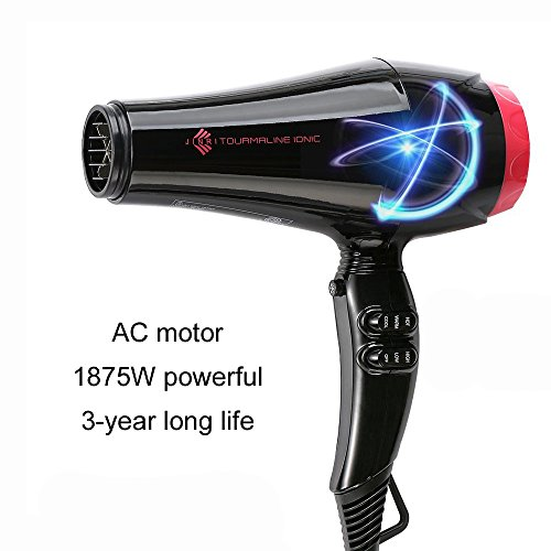 Jinri Professional 1875w  Negative Ionic Fast Dry Hair Dryer with Concentrator,2 speed and 3 Heat,Black Color