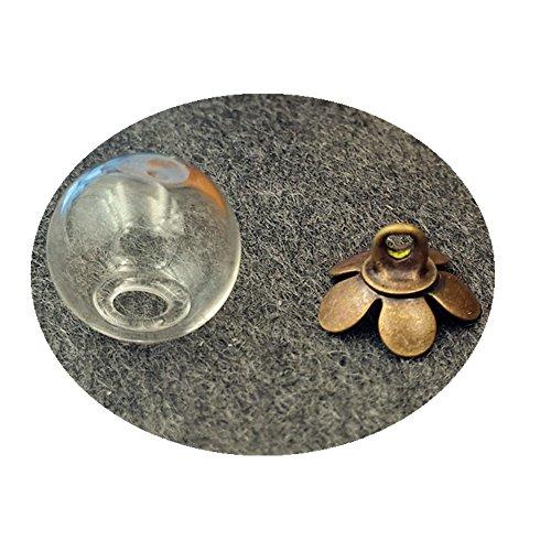 UPC 709466586218, 10set mini empty clear glass ball bottle with five Petal cap glass dome cover glass vial pendant (10mm ball, bronze cap)