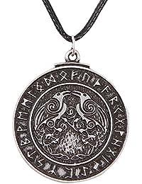 Triskele Ravens Necklace Norse Viking Runes Amulet Triskelion Symbol Odin's Raven Talisman 4032