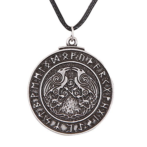 Paw Paw House Valknut Ravens Odin's Spear Norse Viking Runes Talisman Necklace Antique Silver (4032)