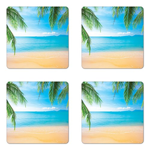 (Ambesonne Beach Coaster Set of Four, Exotic Lagoon Sand Ocean Paradise Picture Thailand Nature Picture, Square Hardboard Gloss Coasters for Drinks, Sky Blue Green Sand Brown)