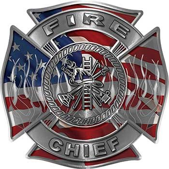 Fire Chief Maltese Cross with Flames Fire Fighter Decal with American Flag ()