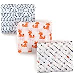 Hudson-Baby-Unisex-Baby-Muslin-Swaddle-Blankets-Foxes-3-Pack-One-Size