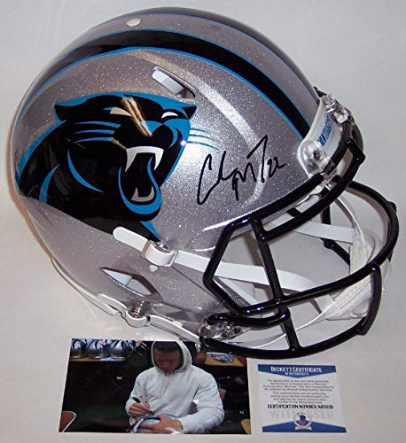 Christian McCaffrey - Autographed Official Full Size Riddell Authentic Proline Football Helmet - Carolina Panthers - BAS Beckett