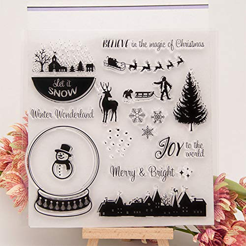 (Fashionwu Exquisite Christmas Patterns Transparent Stamp Silicone Stamp for DIY Scrapbooking Photo Diary Handbook Album Decoration Clear Stamp Card Craft Gift, Christmas Snowman)