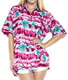 LA LEELA Women's Camp Hawaiian Blouse Shirt Button Down Up Swim Wear L Pink_X28