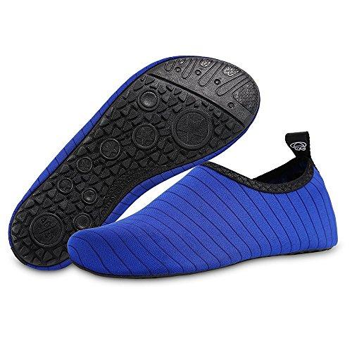 Bravover Chaussures Aquatiques Pieds Nus Aqua Yoga Chaussettes Homme Femme enfantsChaussures d'eau Aqua Chaussettes pour Piscine Adapté à la Natation, la Plongée Et Le Yoga dans la Plage Bleu