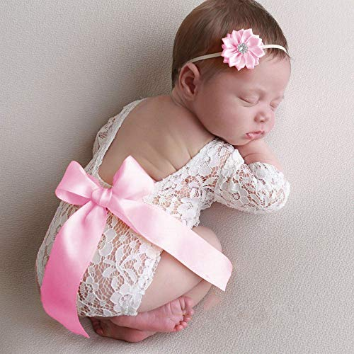Newborn Photography Props Baby Girl Lace Ribbon Bow Photography Clothing Outfit with Newborn Headbands Set