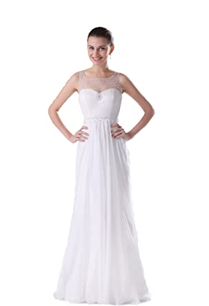 Felala Lang Chiffon Weiß U-Boot Ausschnitt Abendkleid Cocktailkleid ...