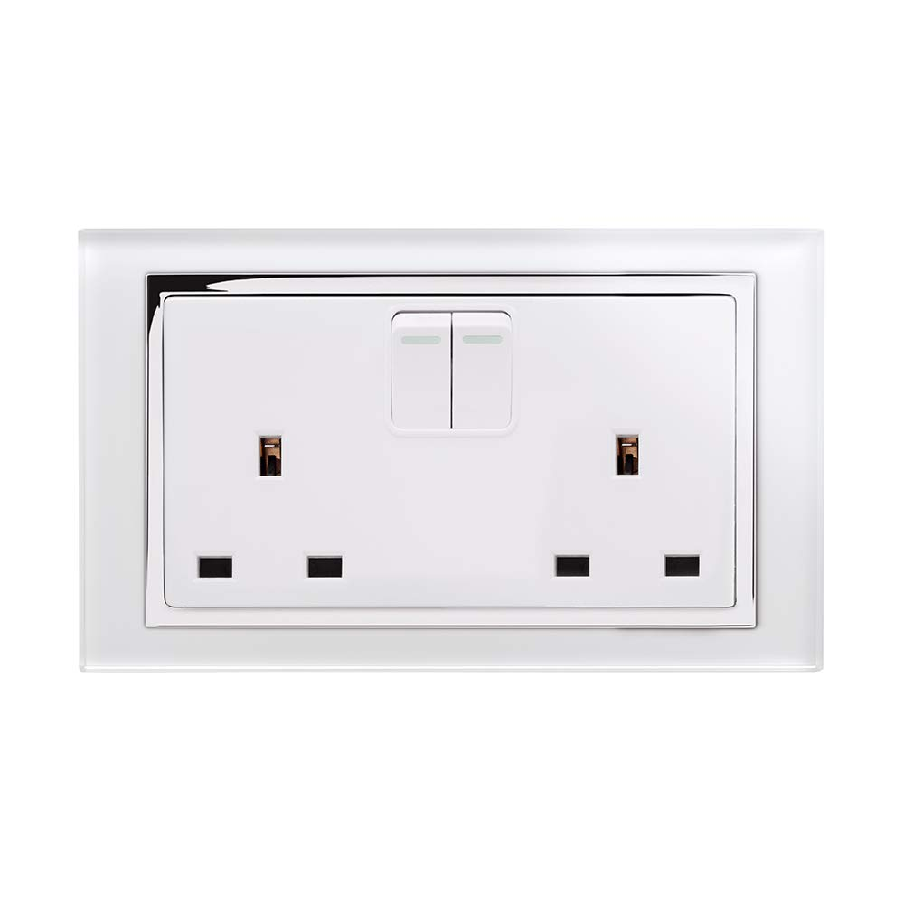 Retrotouch Crystal 13A 2-Gang DP Switched Plug Socket White Glass with Chrome Trim 650
