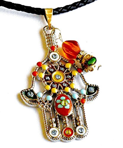 large-hamsa-pendant-black-braided-leather-necklace-kabbalah-boho-jewelry