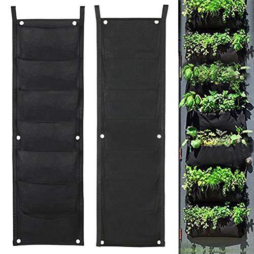 (CDJX Vertical Hanging Planter Bags,2 Pack 7 Pocket Gardening Planter Wall Mounted Hanging Plant Grow Bags for Yard Home Garden School,Herbs Strawberries Flowers Plant Bag 2615cm for Each Pocket)
