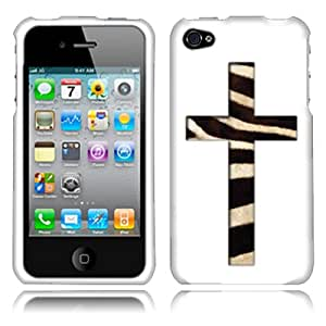 Fincibo (TM) Apple iPhone 4 4S Protector Cover Case Snap On Hard Plastic - Zebra Skin Cross, Front And Back