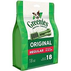 Greenies Original Regular Size Dental Dog Treats, 18 oz. Pack (18 Treats)