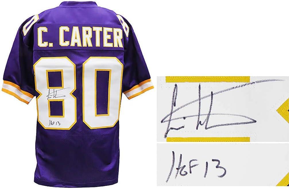 Cris Carter Signed Purple Custom Football Jersey w/HOF'13 at ...