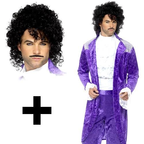 * NEW * 80s Purple Prince Costume with wig in three sizes - M, L or XL. Inc. jacket, mock shirt, trousers, wig and tash