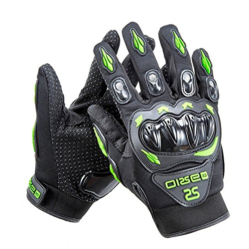 Wonzone Motorcycle gloves Full finger for Road Racing Bike Summer Spring Powersports Racing MTB BMX ATV Off-Road Sports Gloves (Green, X-Large)