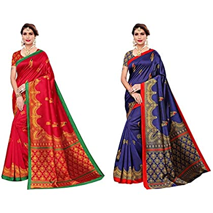 Anni Designer Women's Multicolor Art Silk Saree With Blouse Pack of 2 (GOPI-COMBO-018_Free Size)