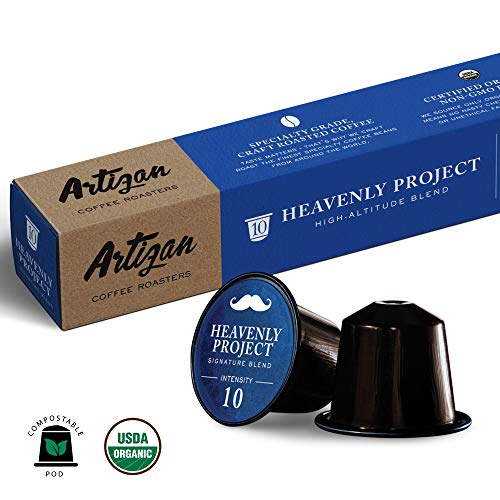 100% USDA Certified Organic Coffee - Nespresso Compatible Capsules - Heavenly Project High-Altitude Blend (10 Pods) … (10 Pods)