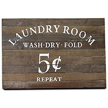 Wooden Laundry Sign | Vintage Look Painted Words | Wash, Dry, Fold, Repeat, 5 cents | By Urban Legacy