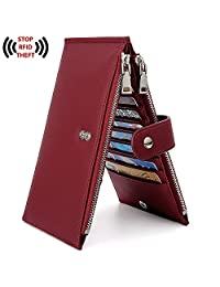 UTO RFID Wallet for Women PU Leather Blocking Tech 19 Card Case Money Organizer Phone Zipper Pocket CA