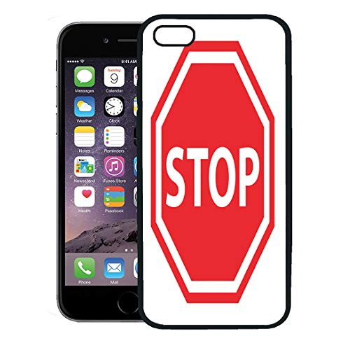 Semtomn Phone Case for iPhone 8 Plus case Cover,Red Traffic Stop Sign Access Admission Area Boundary Clipart,Rubber Border Protective - Clipart Traffic Signs