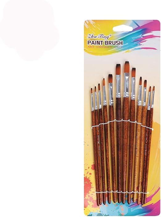 12pcs Set Artist Watercolor Acrylic Oil Painting Supplies Nylon Hair Paint Brush