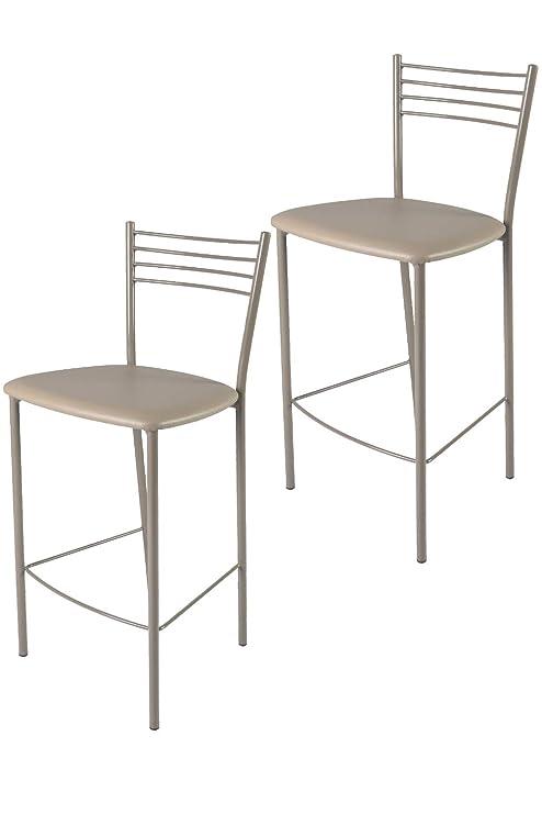 Set 2 sgabelli per cucina e bar moderni, alti, con rubusta struttura ...