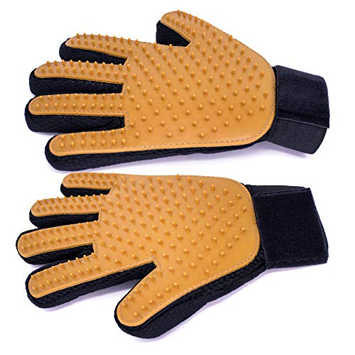 Labradawg Pet Dog Cat Grooming Glove Hair Remover Deshedding Glove Tool for Gentle Grooming, Bathing Brush Glove - One Pair Left & Right (Brown)
