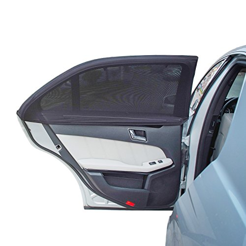 de Window Sun Shade - Protects Your Kids from Sun Burn - Double Layer Design - Maximum Protection - Fit Most of Vehicle - 2 Pieces (Regular Contoured Window) ()