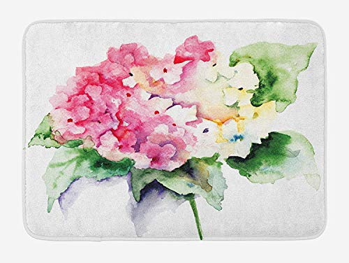 (K0k2t0 Doormats Floral Bath Mat, Hydrangea Flower Bouquet in Watercolor Blossoms Botany Petals Image, Plush Bathroom Decor Mat Non Slip Backing, 23.6 W X 15.7 W Inches, Pink Yellow Forest Green)