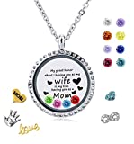 Long Way 30mm Round Magnetic Closure Floating Living Memory Lockets Pendant Necklace with Birthstone