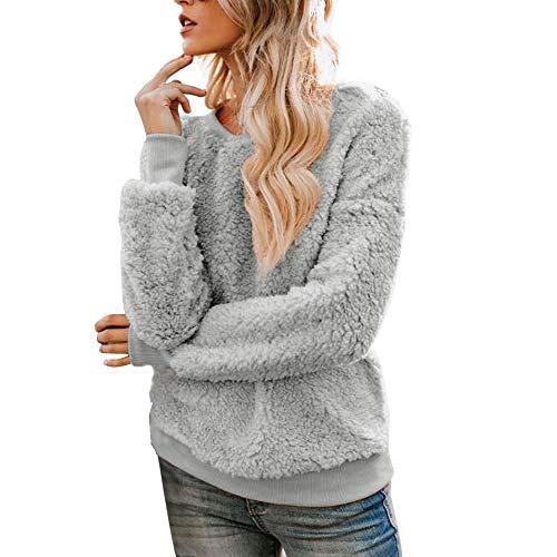 Womens Coats Sale,HULKAY Parka Boho Faux Fur Boutique Tops Top Fashion Plush Fleece Jackets for Women(Gray,S)