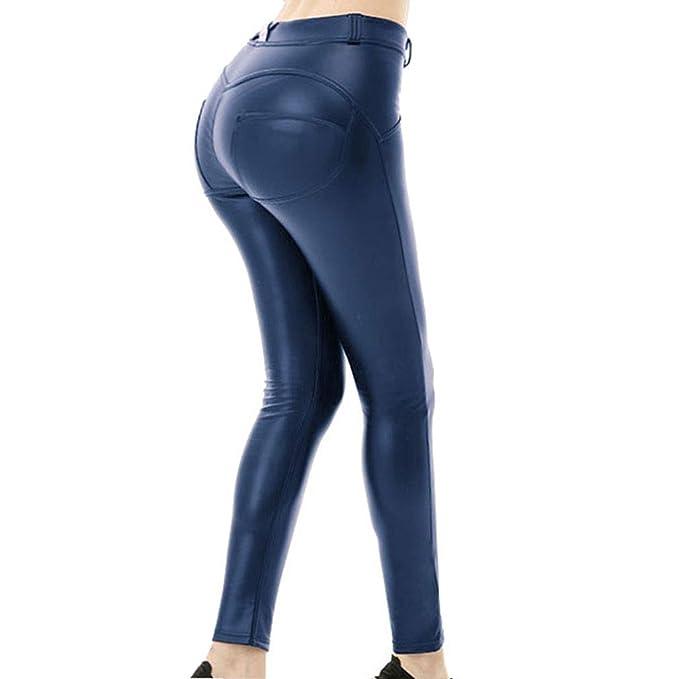 kommt an begehrte Auswahl an 100% hohe Qualität juqilu Frauen Leggings Hose Sexy Hüfthosen - Damen Hosen Kunstleder Leder  Treggins Leggins Smooth Strumpfhose Hüfthoch Hose Schwarz Weinrot Marine ...