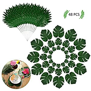YoungRich 48PCS Tropical Leaves Decoration Including 36PCS Artificial Monstera Leaves in 3 Sizes 12PCS Palm Leaves with Long Metal Stems for Hawaiian Festival Birthday Themed Party Wedding Green 58